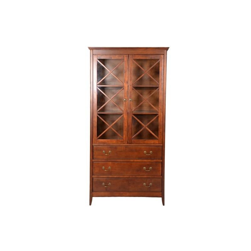 Βιτρίνα από μασίφ ξύλο σε χρώμα καρυδί 98x40x195