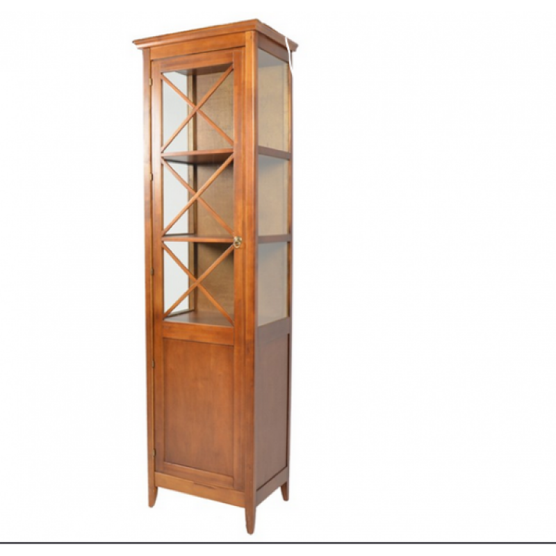 Βιτρίνα από μασίφ ξύλο σε χρώμα καρυδί 55x40x195