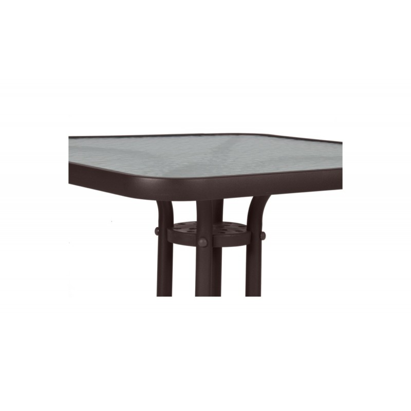 """Τραπέζι """"PALMAS"""" αλουμινίου σε χρώμα σκούρο καφέ 60x60x71"""