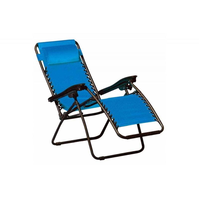 """Πολυθρόνα-ξαπλώστρα """"COMFORT"""" μεταλλική σε χρώμα μπλέ 178x65x110"""