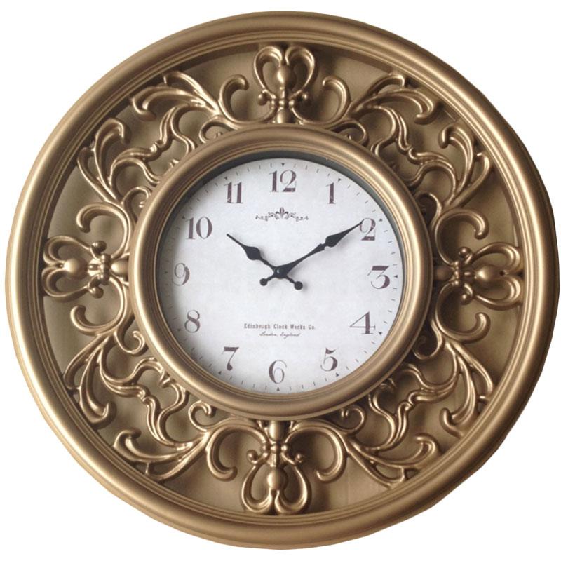 Πλαστικό ρολόι τοίχου σε χρώμα μπρονζέ με λευκό καντράν Φ65