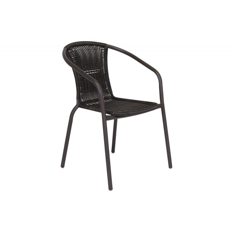 """Πολυθρόνα μεταλλική """"LYDIA"""" με πλέξη wicker σε χρώμα καφέ"""