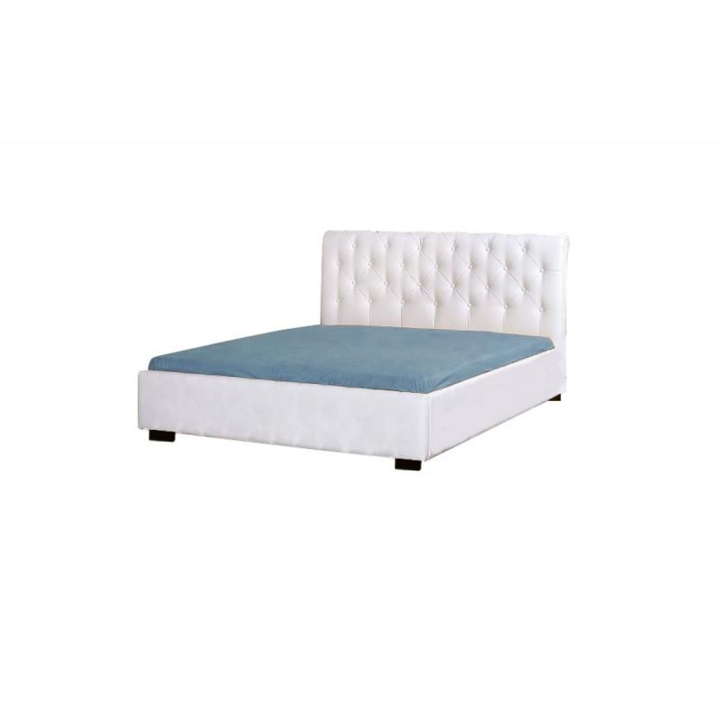 Κρεβάτι διπλό με τεχνόδερμα χρώμα λευκό 150x200
