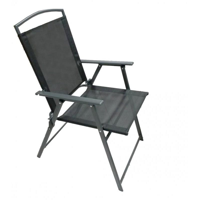 Πολυθρόνα ''SOFIA'' μεταλλική πτυσσόμενη σε χρώμα ανθρακί 56x61x90