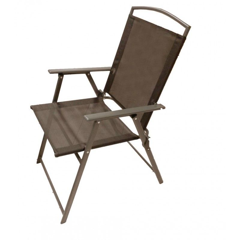 Πολυθρόνα ''SOFIA'' μεταλλική πτυσσόμενη σε χρώμα καφέ 56x61x90