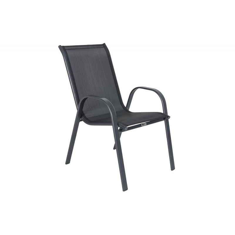 """Πολυθρόνα """"ROBERTA"""" μεταλλική  με textilene σε χρώμα ανθρακί 54x68x90"""