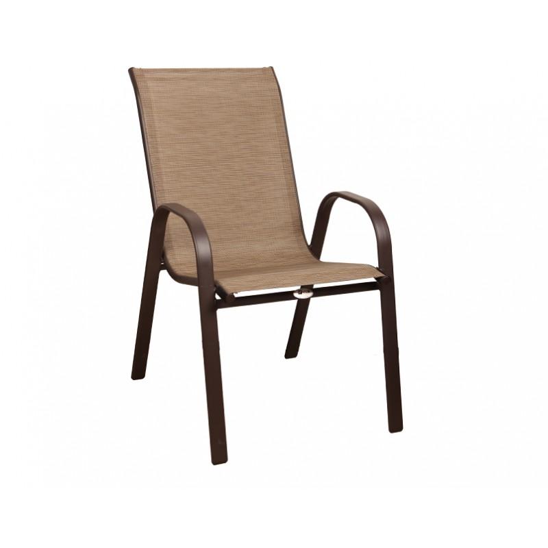 """Πολυθρόνα """"ROBERTA"""" μεταλλική  με textilene σε χρώμα καφέ 54x68x90"""