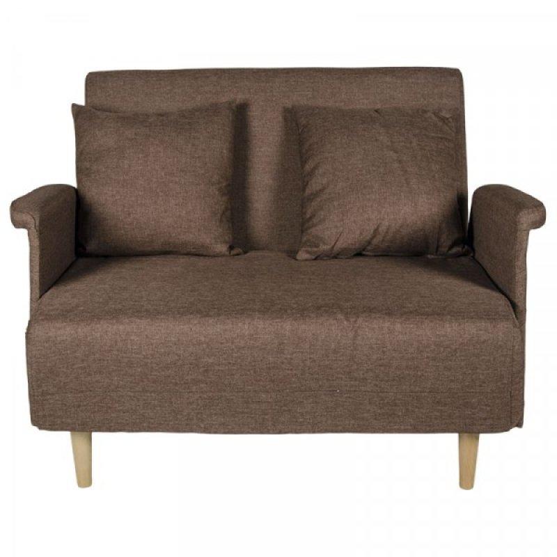 """Καναπές-κρεβάτι """"TITTI"""" διθέσιος υφασμάτινος σε καφέ χρώμα 101x85x87"""