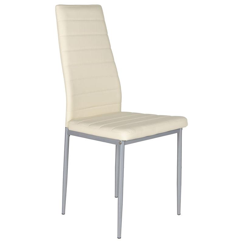 """Καρέκλα """"MARINA"""" μεταλλική από τεχνόδερμα σε μπεζ χρώμα 43x45x98"""