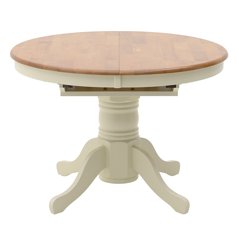 """Τραπέζι ροτόντα """"ΚENTAKI"""" ανοιγόμενο από μασίφ ξύλο σε χρώμα de cape-καρυδί 107(150)x107x76"""