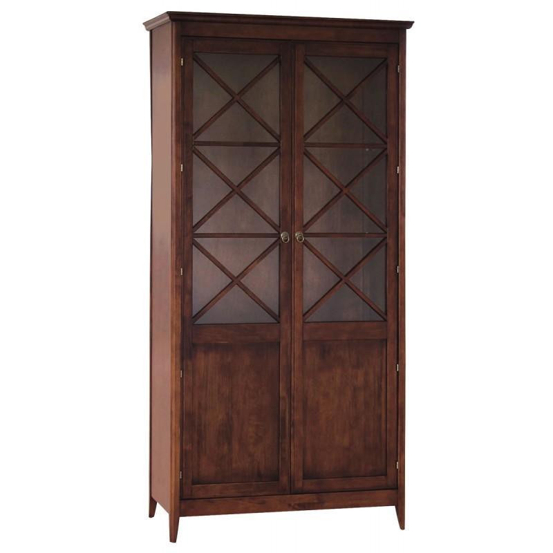 Βιτρίνα από μασιφ ξύλο σε χρώμα καρυδί 98x40x195