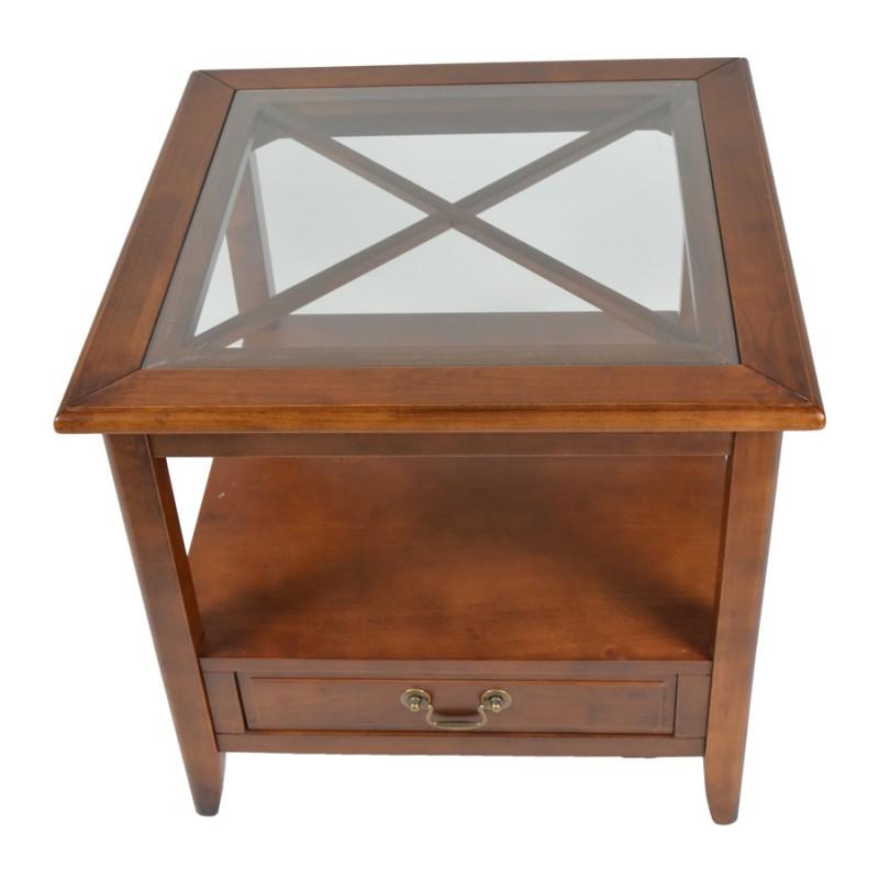 Τραπεζάκι σαλονιού από μασίφ ξύλο σε χρώμα καρυδί 60x60x55