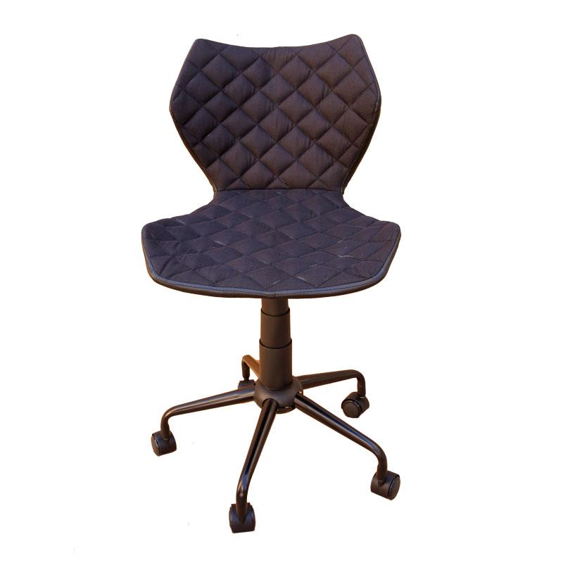 Καρέκλα γραφείου από τεχνόδερμα σε μαύρο χρώμα 48x56x78-88