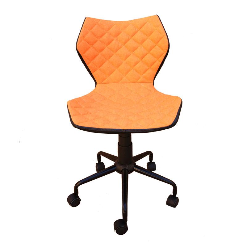 Καρέκλα γραφείου από τεχνόδερμα σε πορτοκαλί χρώμα 48x56x78-88