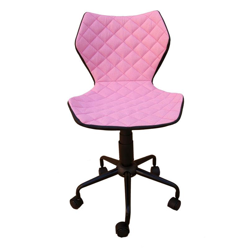 Καρέκλα γραφείου από τεχνόδερμα σε ροζ χρώμα 48x56x78-88