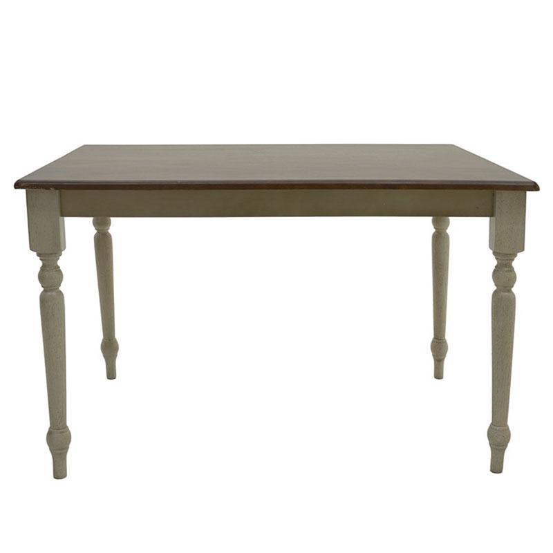 """Τραπέζι """"OSLO"""" από μασίφ ξύλο σε χρώμα decape κρεμ/καφέ 120x75x75"""