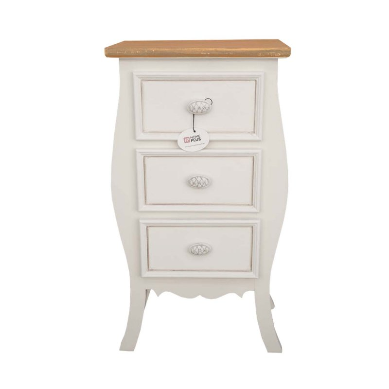 """Συρταριέρα """"ROMANTIC"""" με 3 συρτάρια, σε χρώμα de cape, με καφέ επιφάνεια 38x28x73"""