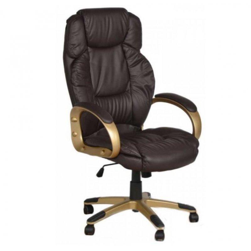 """Πολυθρόνα γραφείου διευθυντή """"Manager"""" από pu σε χρώμα σκούρο καφέ 66x76x118-128"""