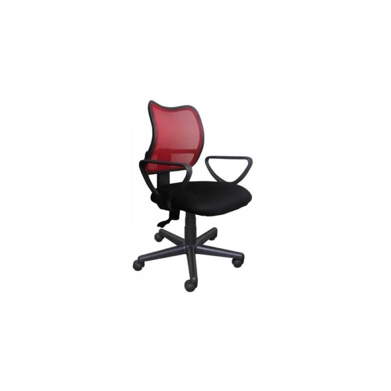 Πολυθρόνα γραφείου εργασίας σε χρώμα μαύρο-κόκκινο 59x60x80/90
