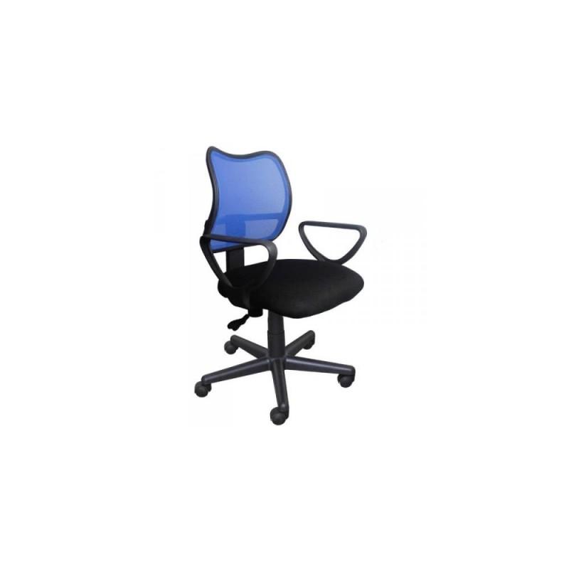 Πολυθρόνα γραφείου εργασίας σε χρώμα μαύρο-μπλε 59x60x80/90