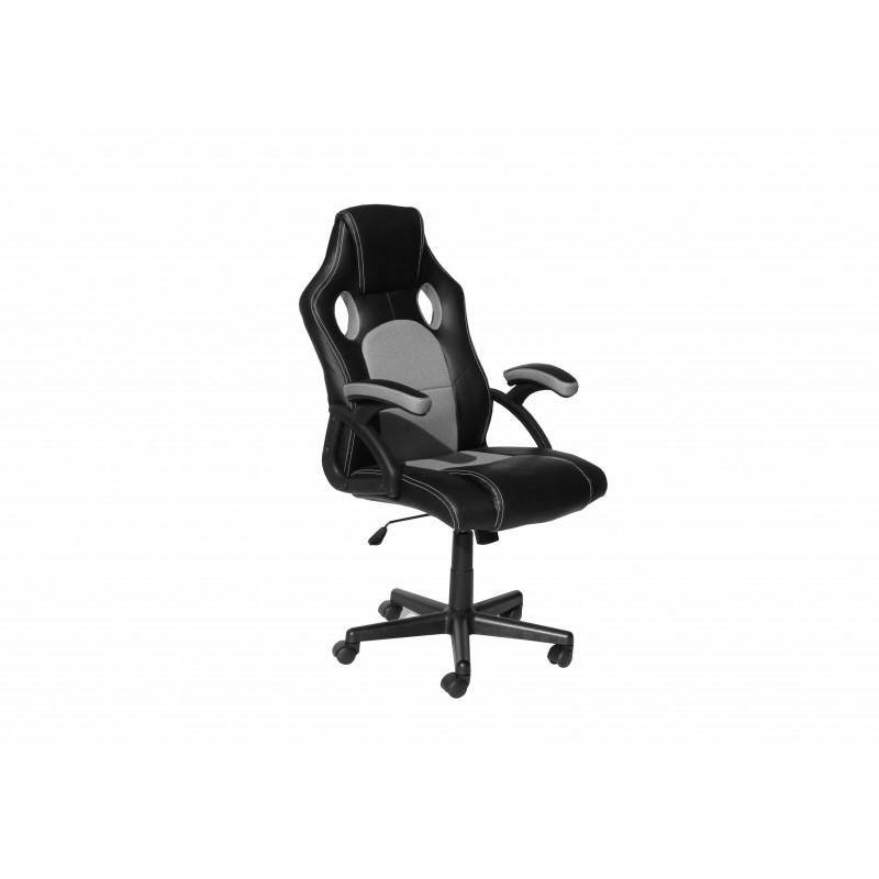 """Πολυθρόνα γραφείου διευθυντή """"Bucket"""" από pu σε χρώμα μαύρο-γκρι 62x68x111/121"""