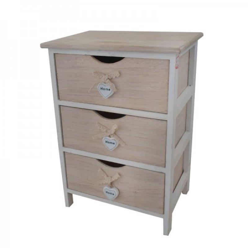 """Συρταριέρα """"HARMONY"""" με 3 συρτάρια σε χρώμα μπεζ 40x29x58"""