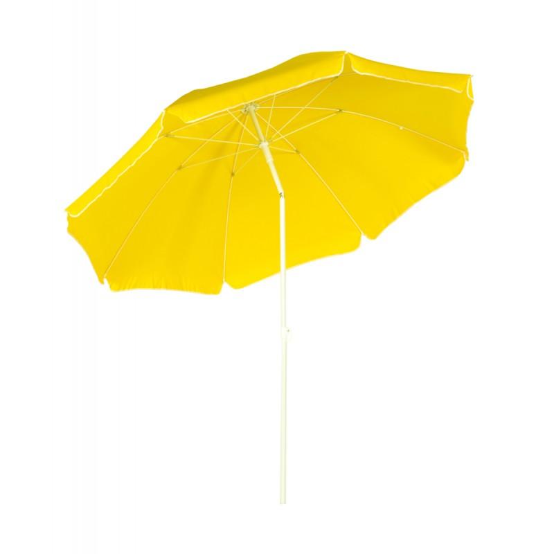 Ομπρέλα θαλάσσης στρόγγυλη 2 μέτρα μεταλλική σε κίτρινο χρώμα