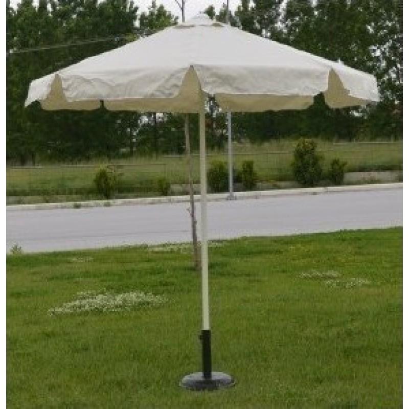 Ομπρέλα στρόγγυλη 2 μέτρα μεταλλική επαγγελματική και αδιάβροχο ύφασμα σε εκρού χρώμα