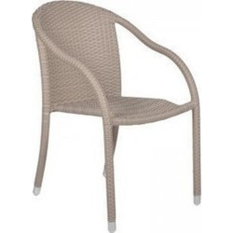 """Πολυθρόνα """"MONICA"""" μετλλική-wicker σε χρώμα λευκό (πάγου) 56x68x84"""