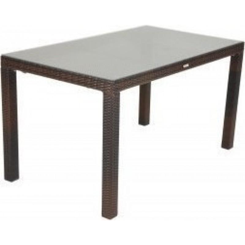 """Τραπέζι """"VIENNA"""" αλουμινίου-wicker σε χρώμα cappuccino 160x90x74"""