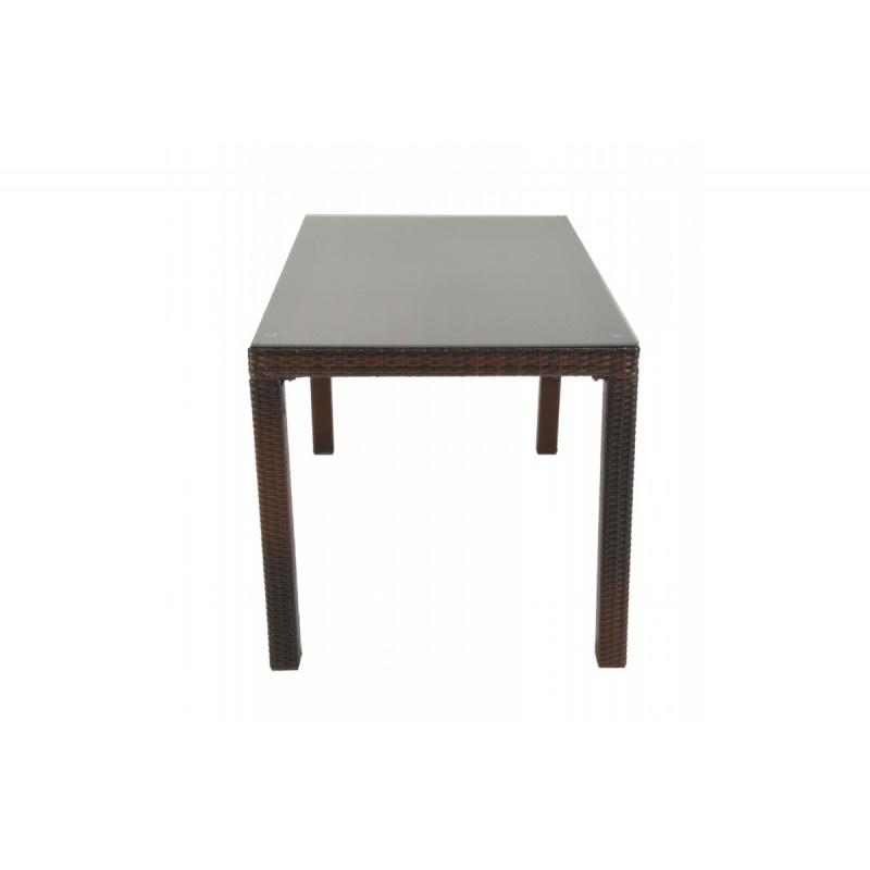 """Τραπέζι """"VIENNA"""" αλουμινίου-wicker σε χρώμα cappuccino 180x90x74"""
