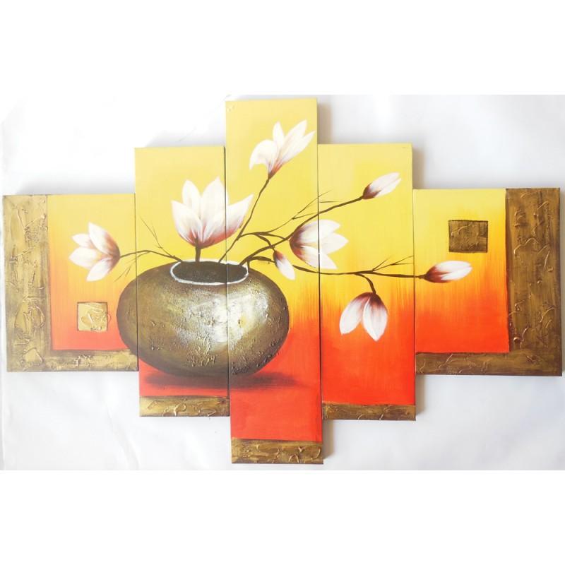 Πίνακες σετ 5τμχ σε καμβά με ανάγλυφη ελαιογραφία 20x80