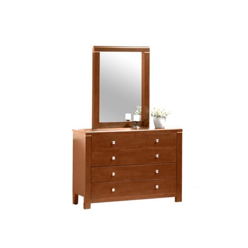 """Συρταριέρα-τουαλέτα """"ROMANTZO"""" με καθρέπτη σε χρώμα καρυδί 120x40x92"""
