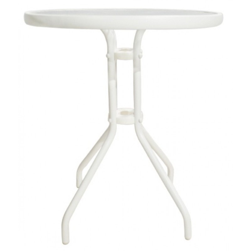 """Τραπέζι μεταλλικό """"LIMA"""" σε χρώμα λευκό 60x71"""