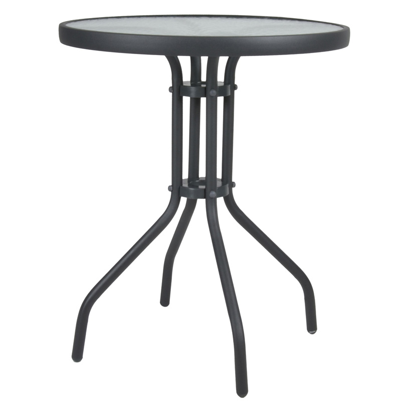 """Τραπέζι αλουμινίου """"LIMA-AL"""" σε χρώμα ανθρακί Ø60x70"""