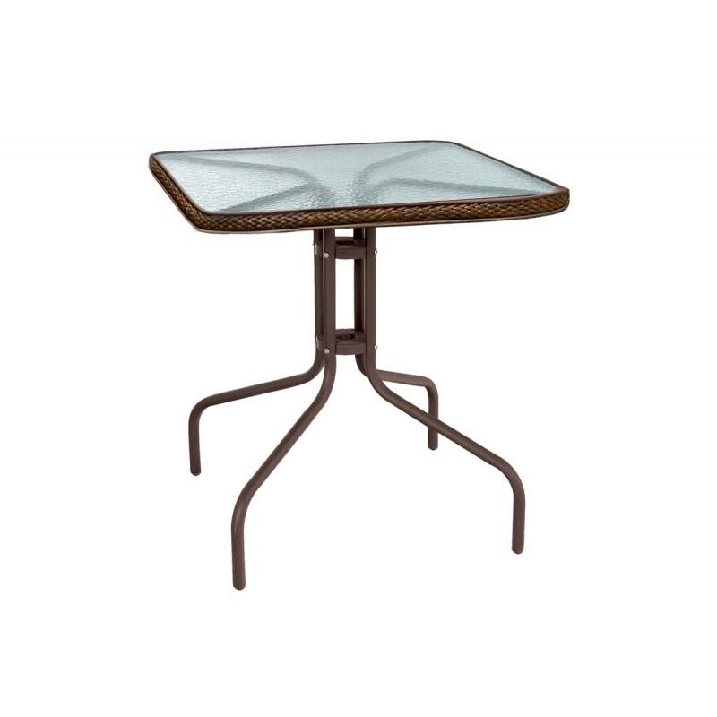 """Τραπέζι αλουμινίου """"PALMAS"""" σε χρώμα σκούρο καφέ 70x70x71"""