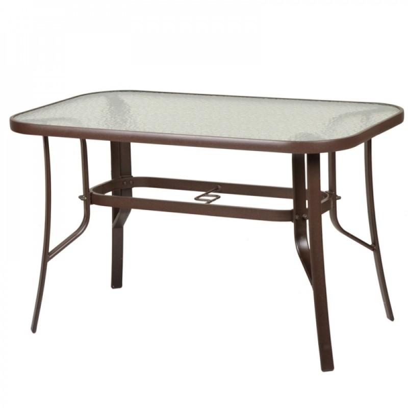 """Τραπέζι """"PALERMO"""" αλουμινίου σε χρώμα καφέ 120x70x71"""
