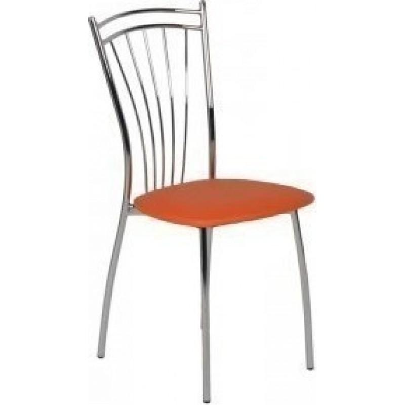 """Καρέκλα """"ROMA"""" μεταλλική απο τεχνόδερμα σε χρώμα πορτοκαλί 39x48x89"""