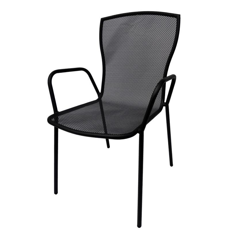 """Πολυθρόνα """"NEW BRIO"""" μεταλλική σε χρώμα ανθρακί 54x65x90"""