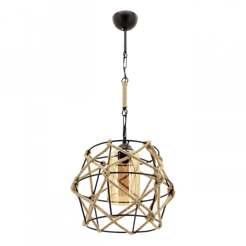 """Φωτιστικό """"MINA"""" οροφής μονόφωτο μεταλλικό με σχοινί σε χρώμα μαύρο"""