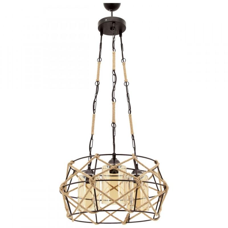 """Φωτιστικό """"MINA"""" οροφής 3φωτο μεταλλικό με σχοινί σε μαύρο χρώμα"""