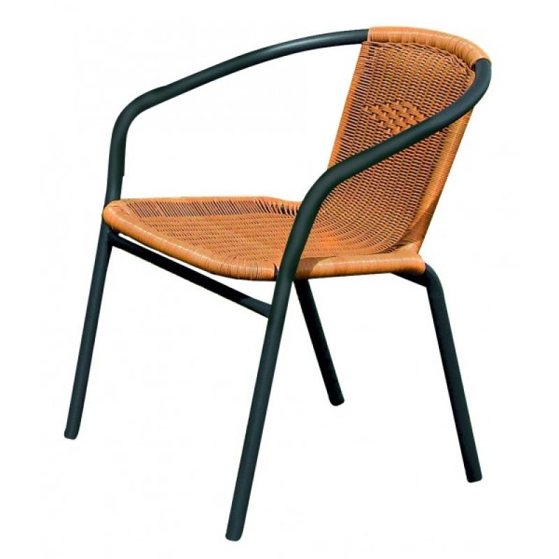 """Πολυθρόνα μεταλλική """"PATRA"""" με πλέξη wicker σε χρώμα γκρι-φυσικό 53x58x77"""