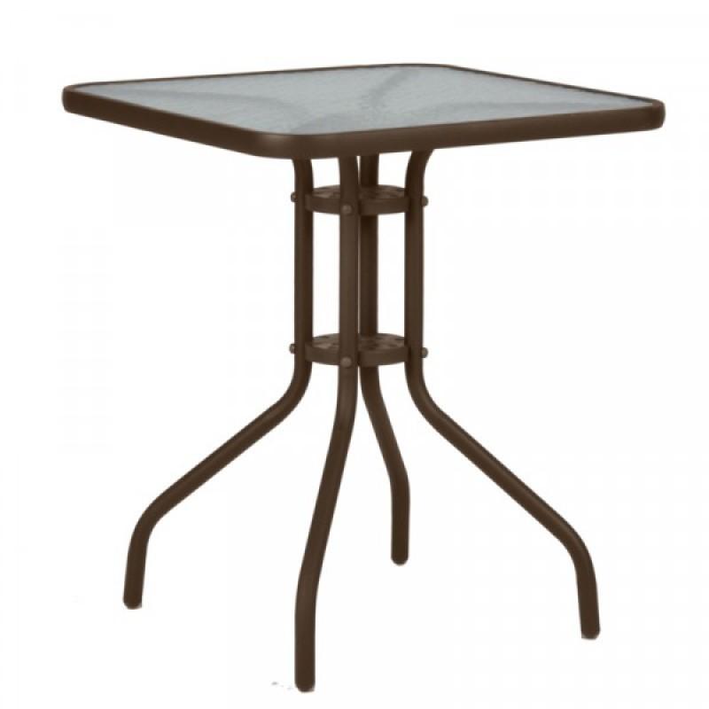"""Τραπέζι """"PALMAS"""" μεταλλικό σε χρώμα καφέ 60x60x71"""