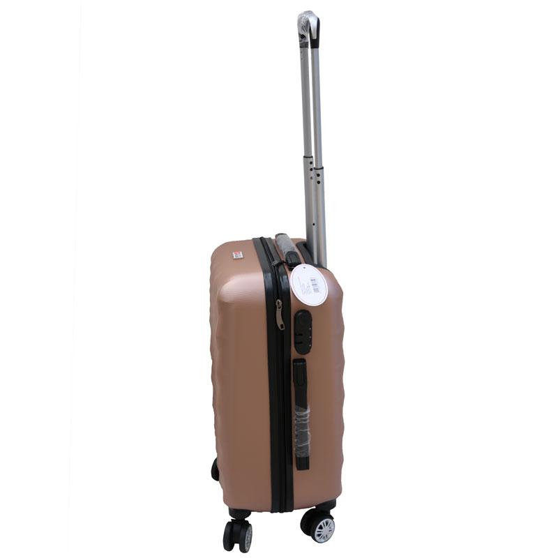 Βαλίτσα τρόλλεϋ με σκληρό εξωτερικό σκελετό σε χρώμα ροζ-χρυσό, 51x30x22