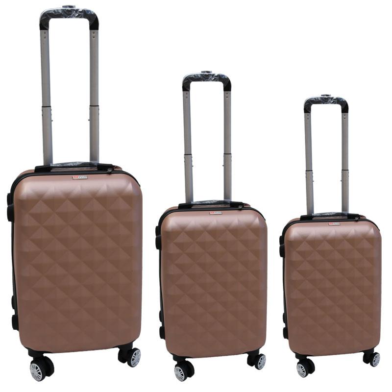 Σετ βαλίτσες 3τμχ τρόλλεϋ σε χρώμα ροζ-χρυσό