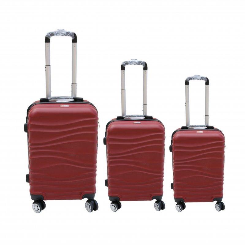 Σετ βαλίτσες 3τμχ τρόλλεϋ σε χρώμα μπορντώ