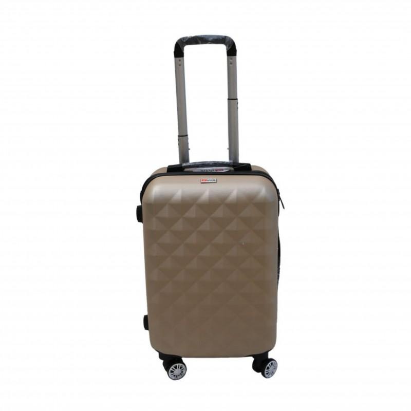 Βαλίτσα τρόλλεϋ με σκληρό εξωτερικό σκελετό και κλειδαριά ασφαλείας σε χρώμα χρυσό, 71x47x29