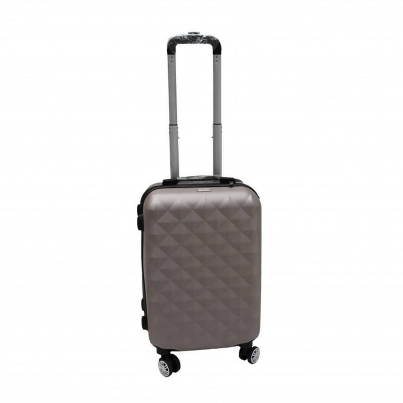 Βαλίτσα τρόλλεϋ με σκληρό εξωτερικό σκελετό και κλειδαριά ασφαλείας, χρώμα γκρι, 71x47x29
