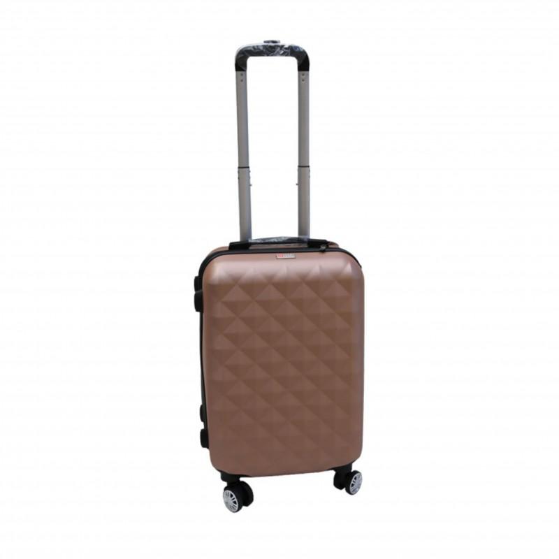Βαλίτσα τρόλλεϋ με σκληρό εξωτερικό σκελετό και κλειδαριά ασφαλείας σε χρώμα ροζ-χρυσό, 71x47x29