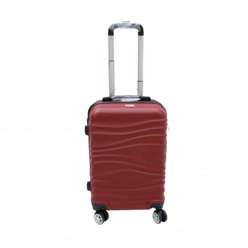 Βαλίτσα τρόλλεϋ με σκληρό εξωτερικό σκελετό και κλειδαριά ασφαλείας σε χρώμα μπορντώ, 71x47x29